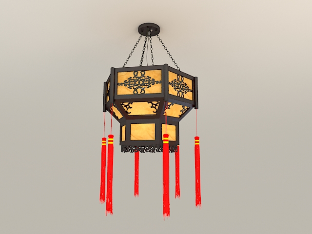 Chinese Lantern Light Fixture 3d model