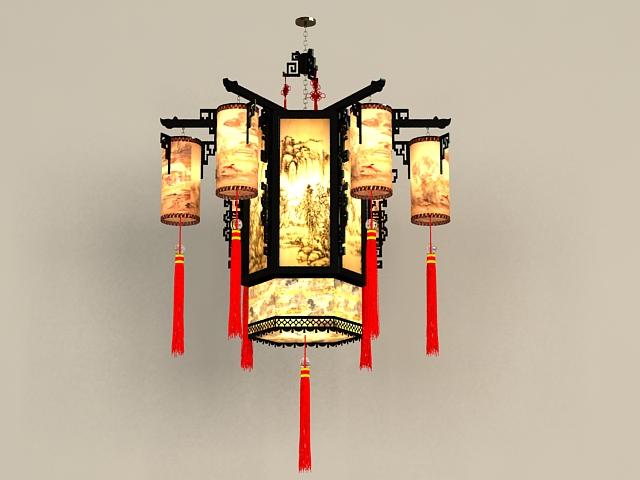 Chinese Antique Chandelier Light Fixtures 3d Model 3ds Max