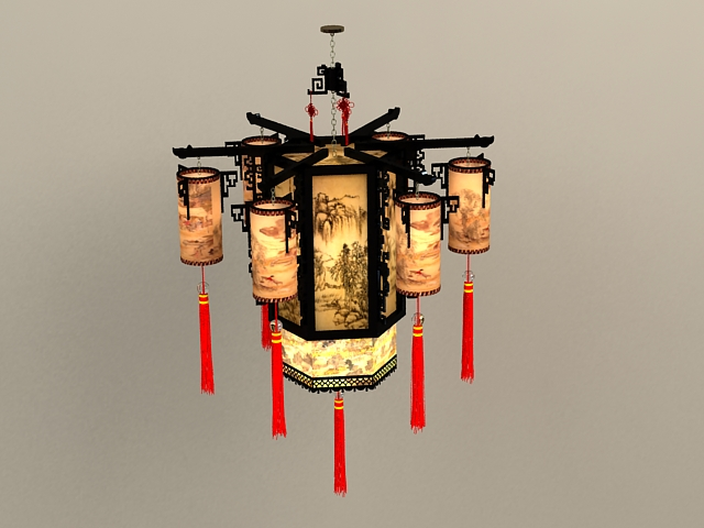 Chinese Antique Chandelier Light Fixtures 3d model 3ds Max files ...