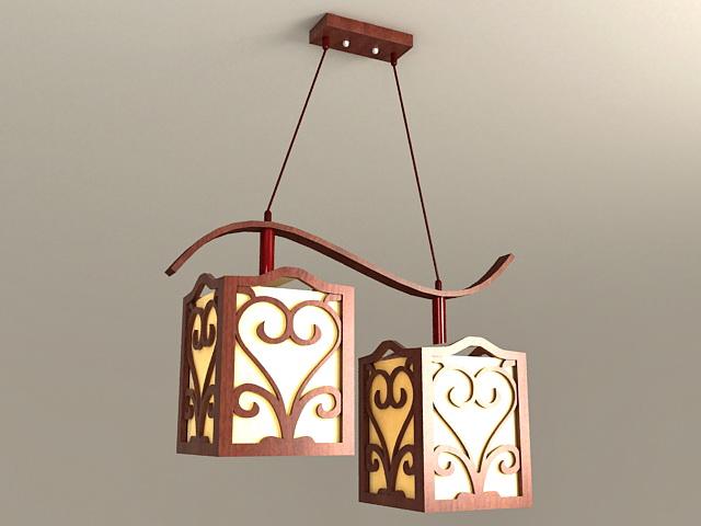 Wood Pendant Light Fixture 3d model