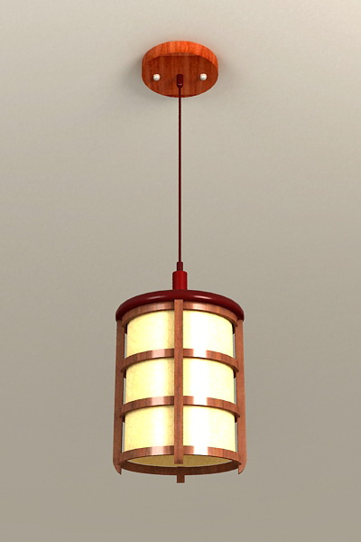 Wood Hanging Pendant Light 3d model