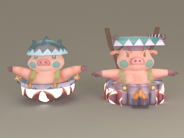 Pig Cartoon Characters 3d model