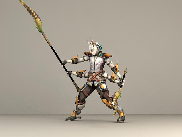 Fantasy Cat Warrior 3d model