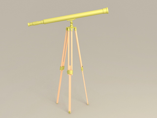 Brass Telescope with Tripod 3d model