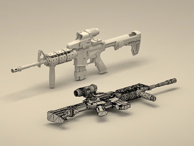M4 Carbine Weapons System 3d Model 3ds Max Files Free