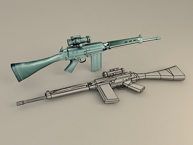 FN FAL Battle Rifle 3d model