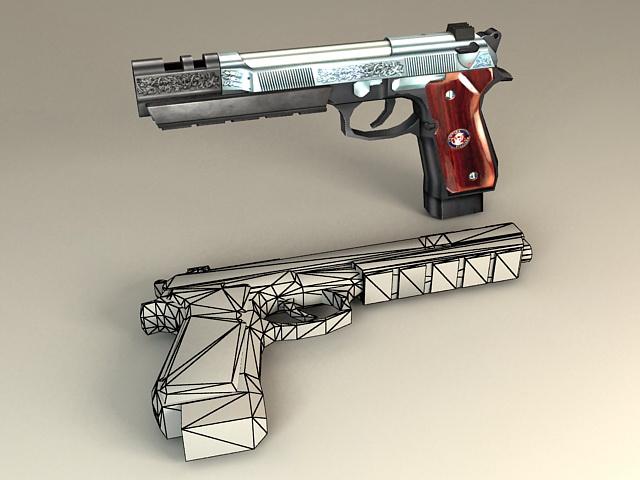 Beretta M92S-1 Pistol 3d model