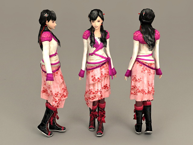 Beautiful Sweet Chinese Girl 3d model