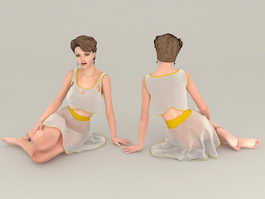 Sad Woman Sitting 3d model