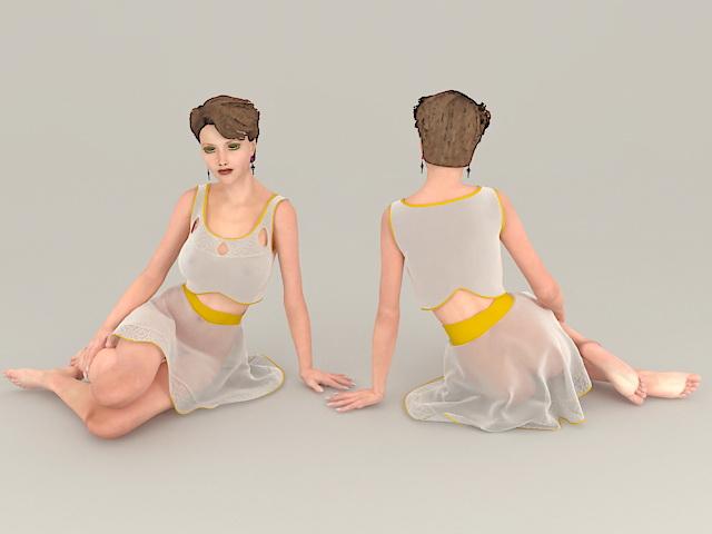 Sad Woman Sitting 3d model