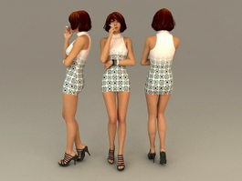 Hot Girl Smoker 3d model