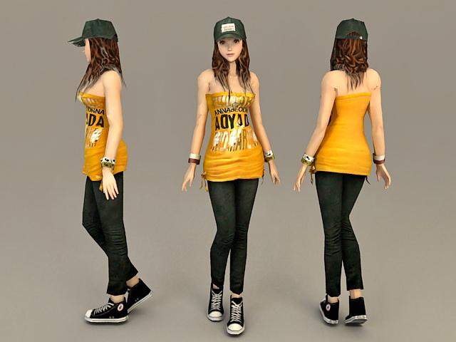 Casual Wear Asian Girl 3d model