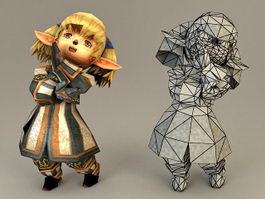 Anime Elf Dwarf Female 3d model