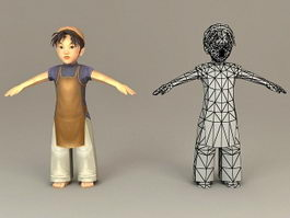 Traditional Korean Boy 3d model