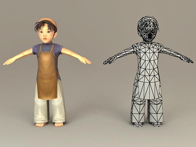 Traditional Korean Boy 3d model