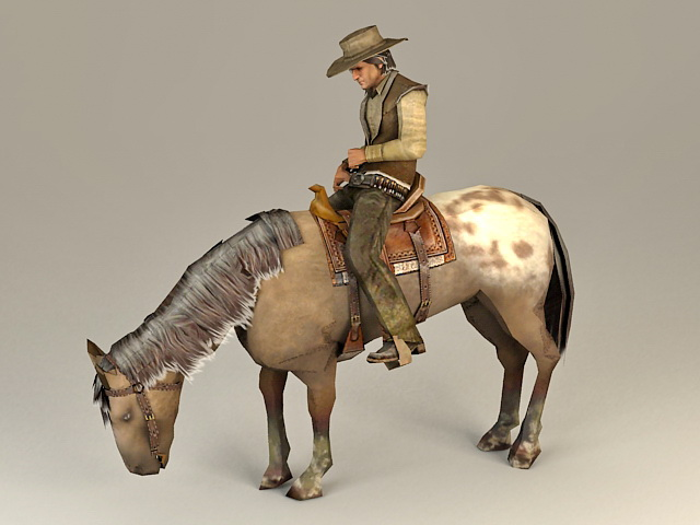 Cowboy Riding Horse 3d Model 3ds Max Files Free Download