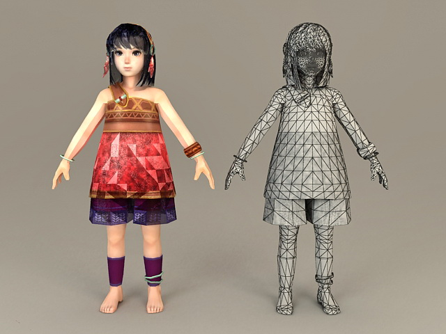 Ancient Chinese Teenage Girl 3d model