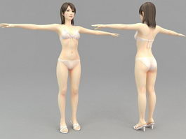 Asian Girl with Bikini 3d model