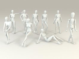 Female Mannequins Set 3d model