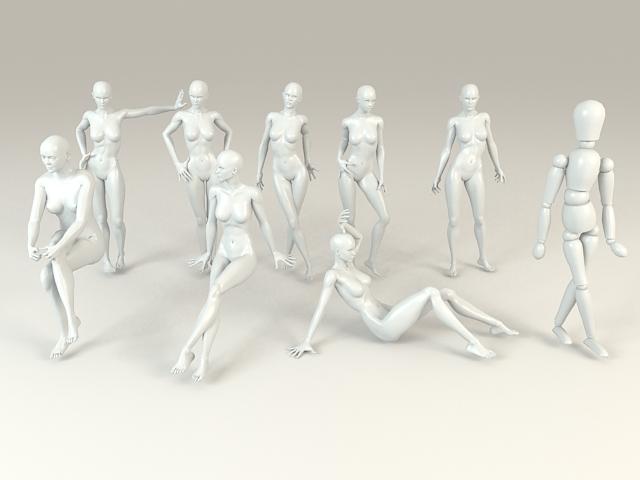 Female Mannequins Set 3d model