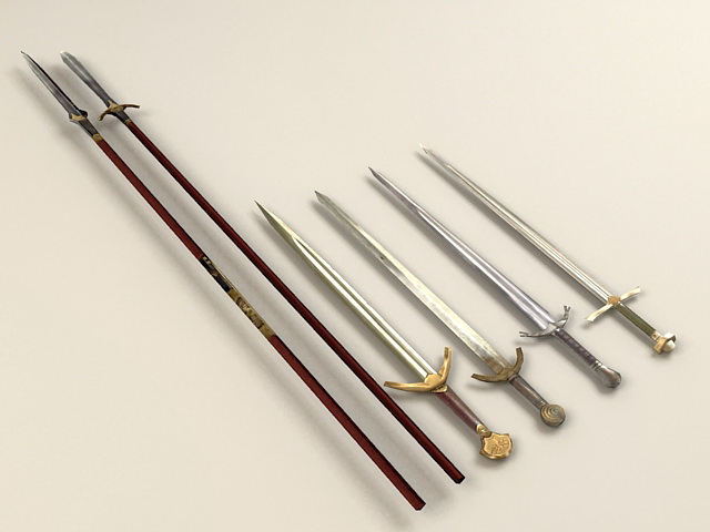 Spears and Swords 3d model