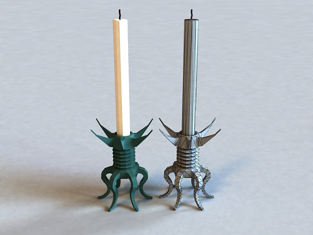 Antique Candlestick with Candle 3d model