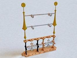 Medieval Weapon Rack 3d model