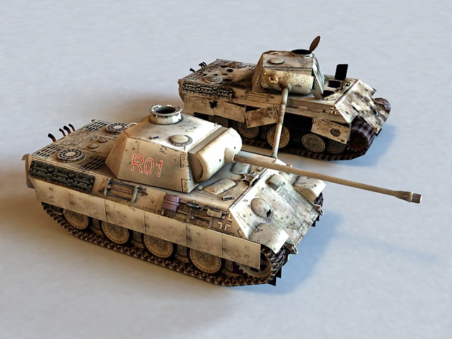 Destroyed Panther Tank 3d model