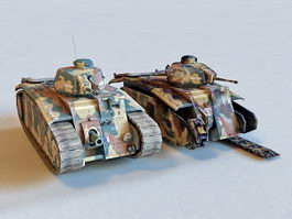French Char B1 Heavy Tank 3d model