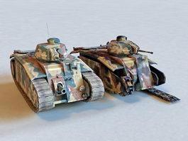 French Char B1 Heavy Tank 3d model