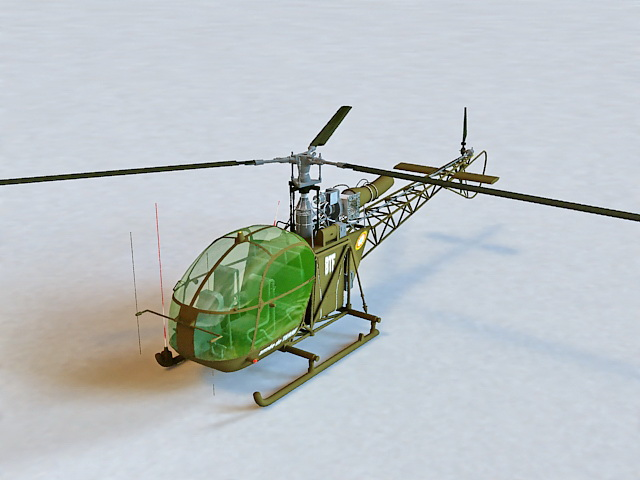 Alouette II Helicopter 3d model