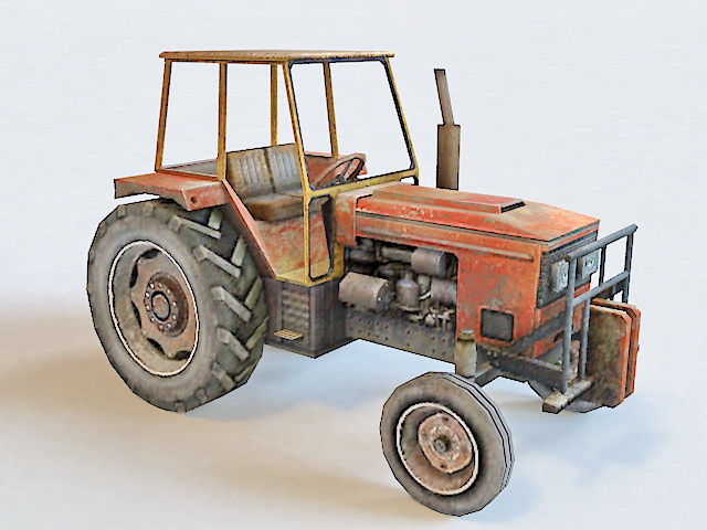 Farm Tractor Low Poly 3d model