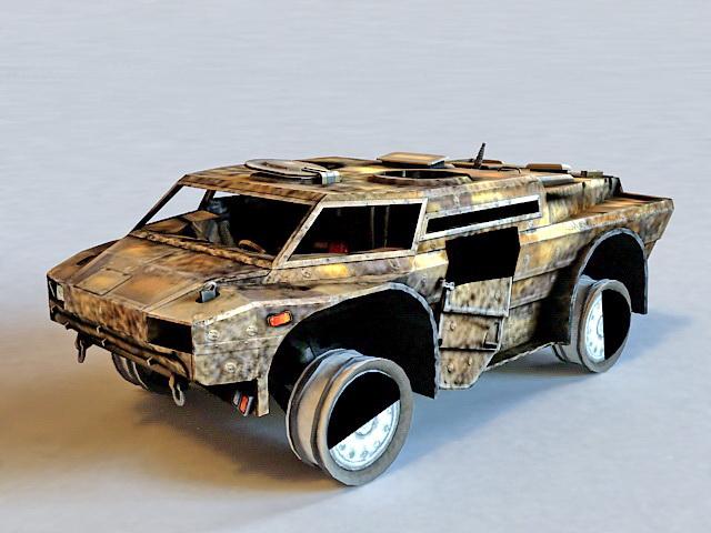 Damaged Armoured Car 3d model