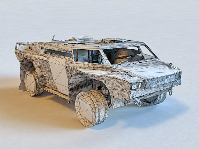 Damaged Armoured Car 3d model 3ds Max,Maya,Object files free