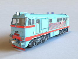 Diesel Railway Locomotive 3d model