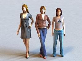 Beautiful Group of Three Women 3d model