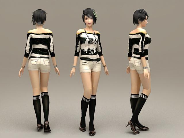 Beautiful Alternative Girl 3d model