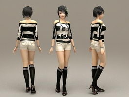 Beautiful Alternative Girl 3d model