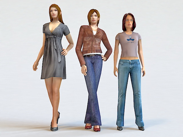 Three Trendy Woman 3d model