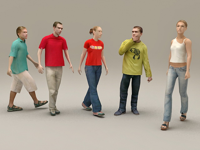 People Group Together 3d model