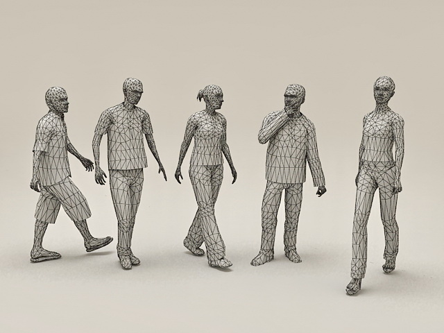 People Group Together 3d model 3ds Max files free download