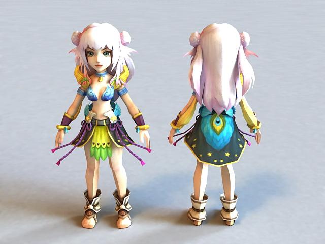 Anime Chibi Girl Warrior 3d model