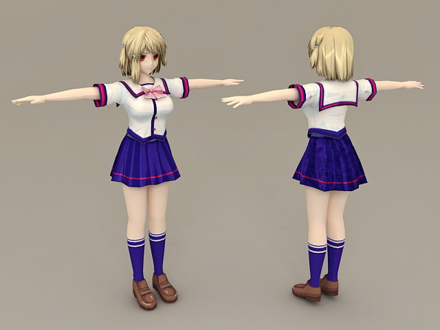 Cute Anime Schoolgirl 3d model