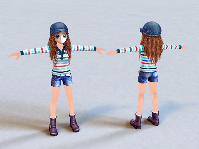Baseball Anime Girl 3d model