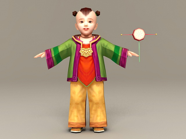 Ancient Chinese Toddler Boy 3d model