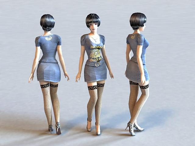 Hot Stockings Girl 3d model