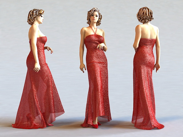 Beautiful Red Dress Lady 3d Model 3ds Max Files Free