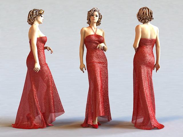 Beautiful Red Dress Lady 3d model
