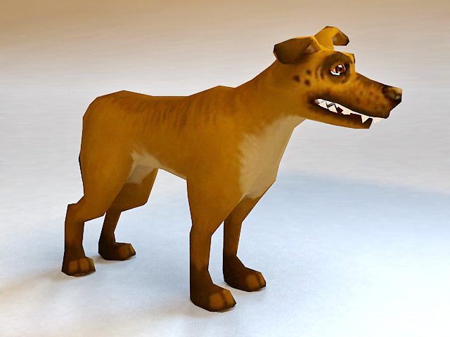 Animated Cartoon Dog Rigged 3d model