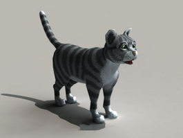 Black and Grey Cat Rigged 3d model